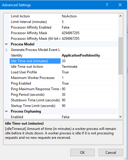 application pool advanced settings